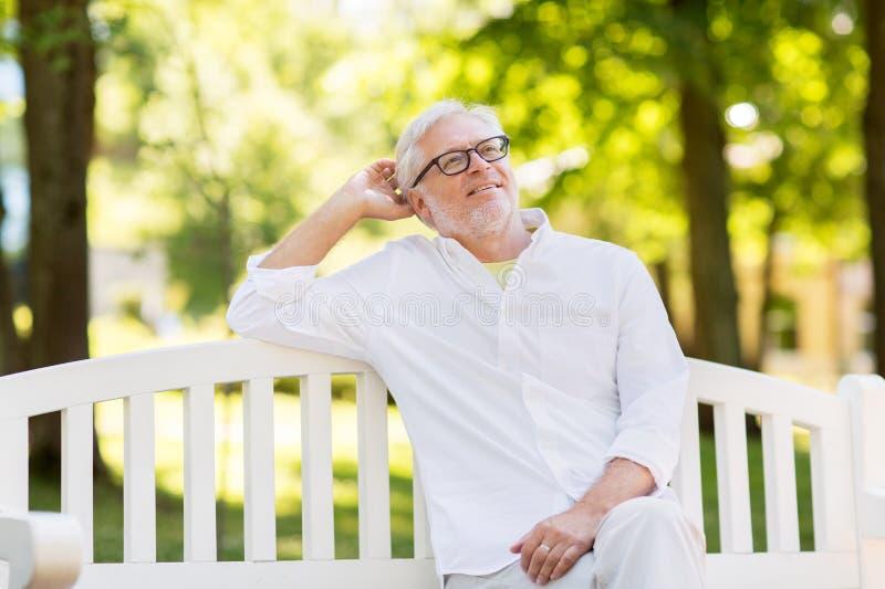 Uomo senior felice in vetri che si siedono al parco di estate fotografia stock libera da diritti