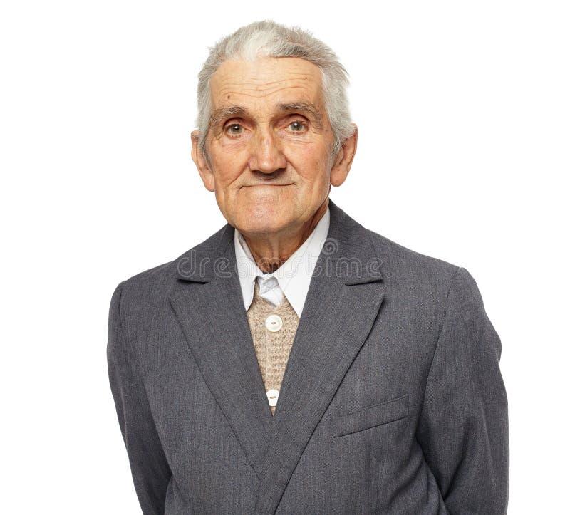 Uomo senior isolato su bianco fotografia stock libera da diritti