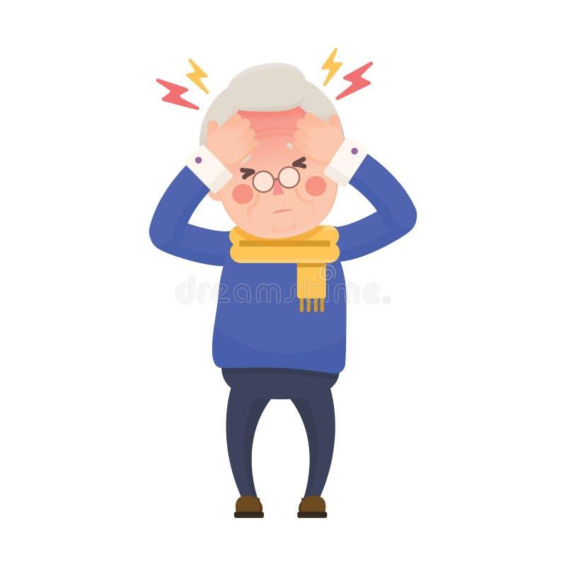 Uomo senior malato che ha emicrania e temperatura elevata illustrazione vettoriale