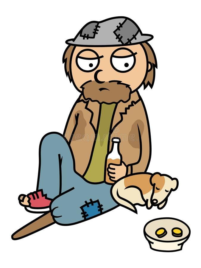 Uomo senza casa ubriaco che elemosina con il cane illustrazione di stock