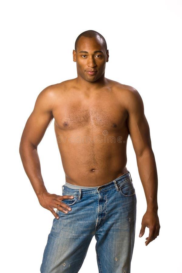 Uomo senza lo sguardo di modo della camicia fotografia stock