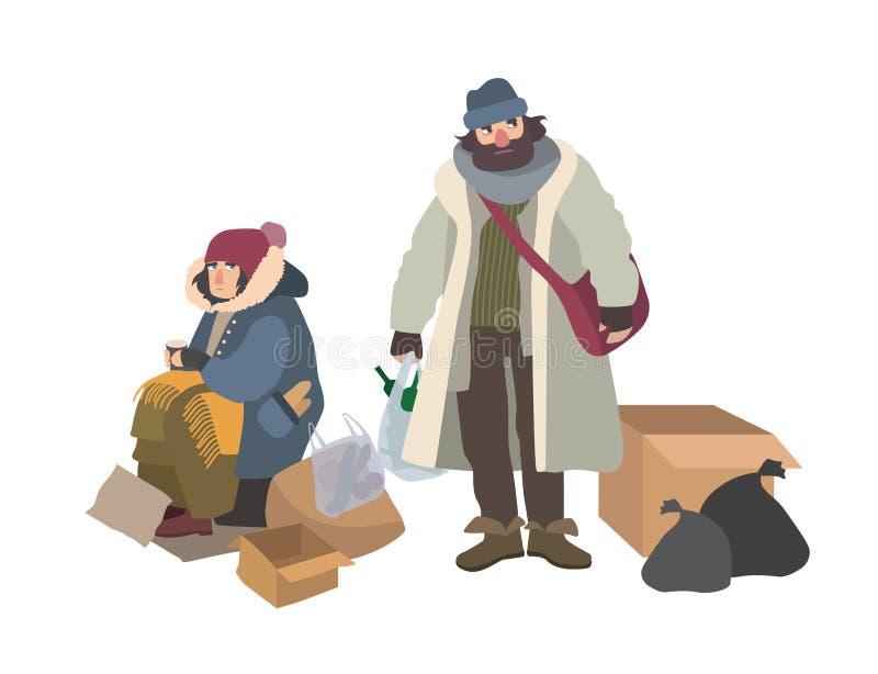 Uomo senza tetto e donna che elemosinano i soldi sulla via Coppie le sedere, i mendicanti, i vagabondi o i vagabondi Maschio pove royalty illustrazione gratis