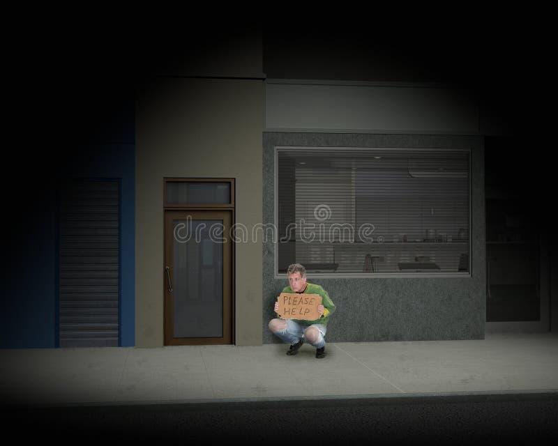 Uomo senza tetto sulla via scura della città fotografia stock libera da diritti