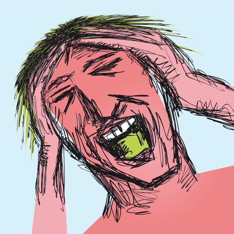 Uomo sollecitato illustrazione vettoriale