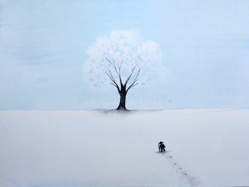 Uomo solo di verniciatura del paesaggio che cammina attraverso la neve al grande albero nella stagione invernale royalty illustrazione gratis
