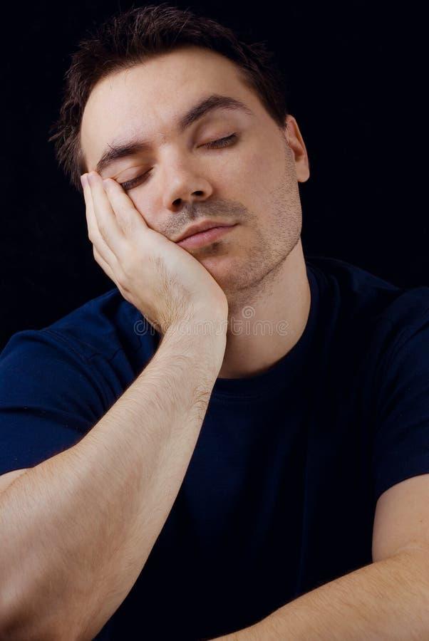 Uomo sonnolento fotografia stock