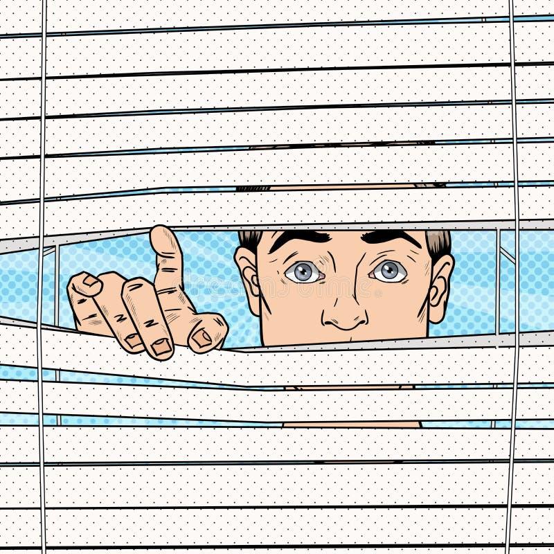 Uomo sorpreso che guarda attraverso i ciechi Retro illustrazione di Pop art royalty illustrazione gratis
