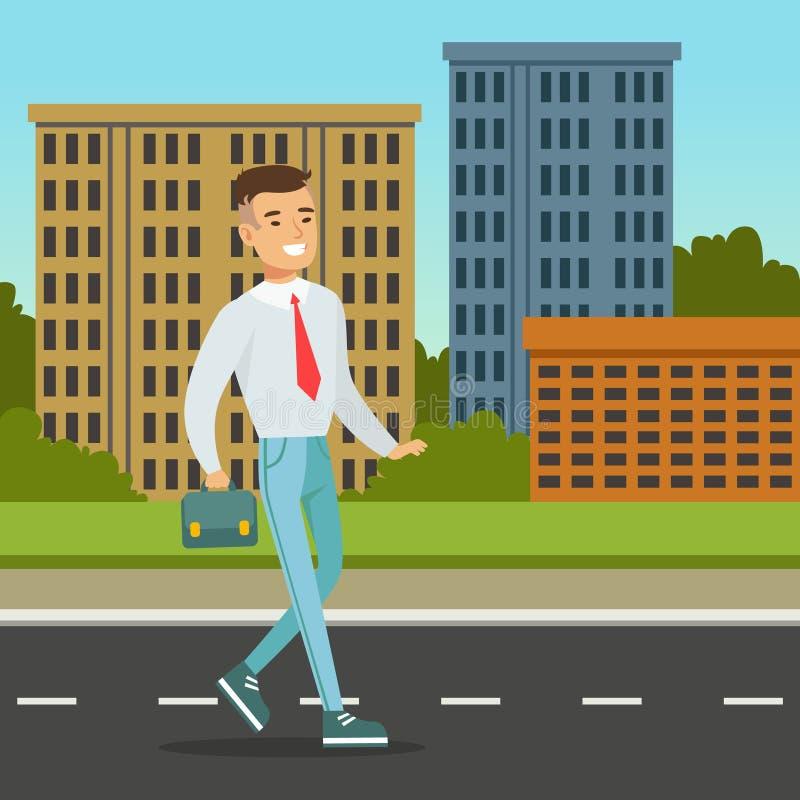 Uomo sorridente che cammina giù la via con la cartella blu Fondo di architettura della città Impiegato di concetto sul suo modo l illustrazione vettoriale