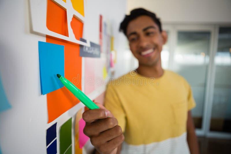 Uomo sorridente che indica alle note appiccicose con il pennarello in ufficio fotografia stock libera da diritti