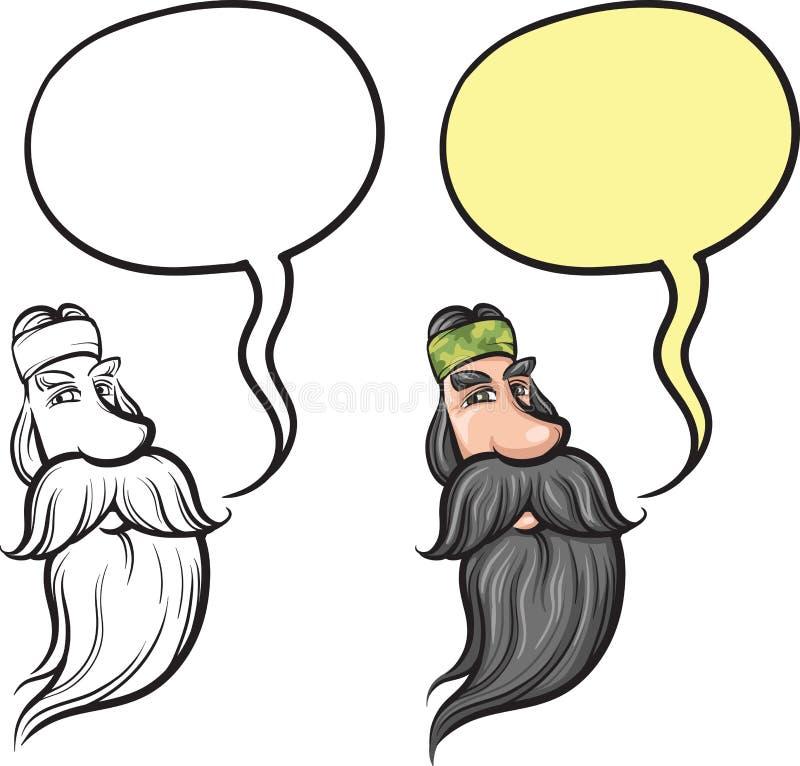 Uomo sorridente del fumetto con il fronte lungo della barba illustrazione di stock