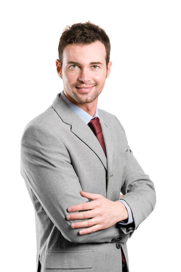 Uomo sorridente felice di affari fotografie stock libere da diritti