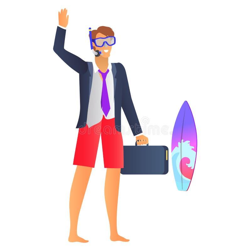 Uomo sorridente in maschera blu di immersione subacquea e rivestimento nero royalty illustrazione gratis