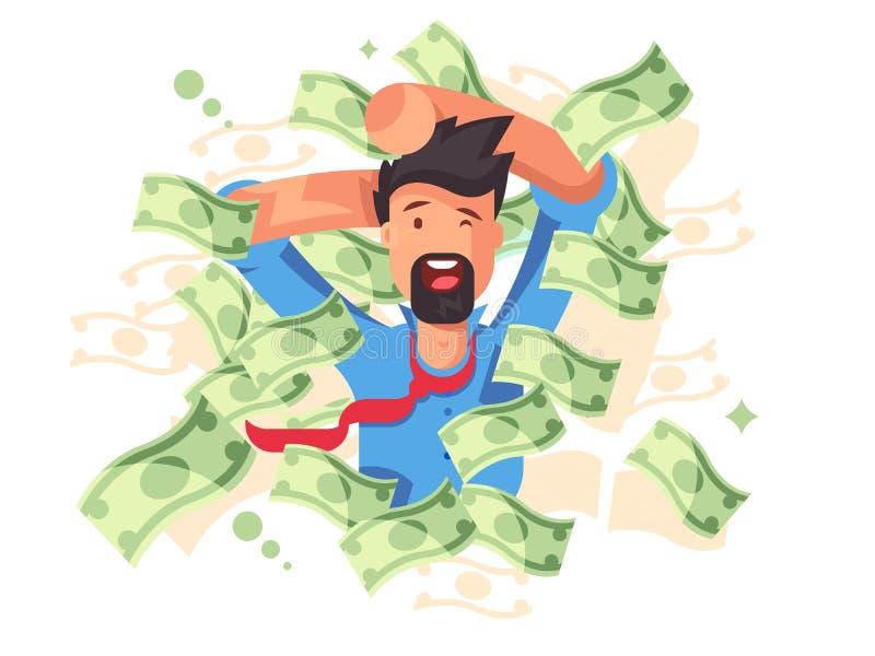 Uomo sorridente ricco che bagna in soldi royalty illustrazione gratis