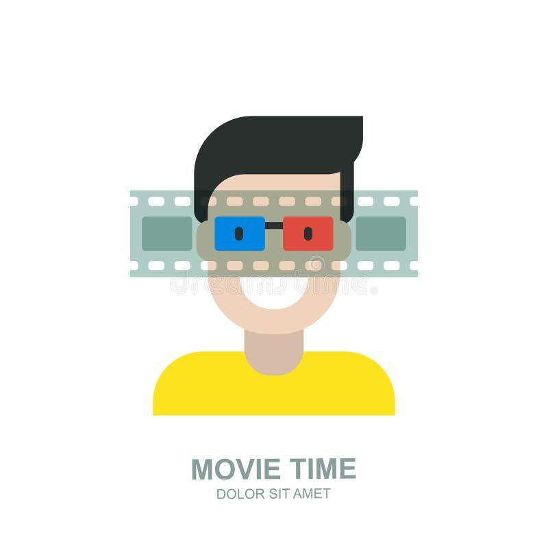 Uomo sorridente in vetri del cinema 3d Progettazione dell'icona di logo di vettore Concetto per tempo di film domestico, i media  illustrazione vettoriale
