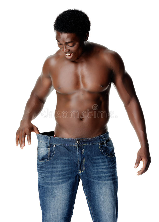Uomo sottile dei weighloss fotografie stock