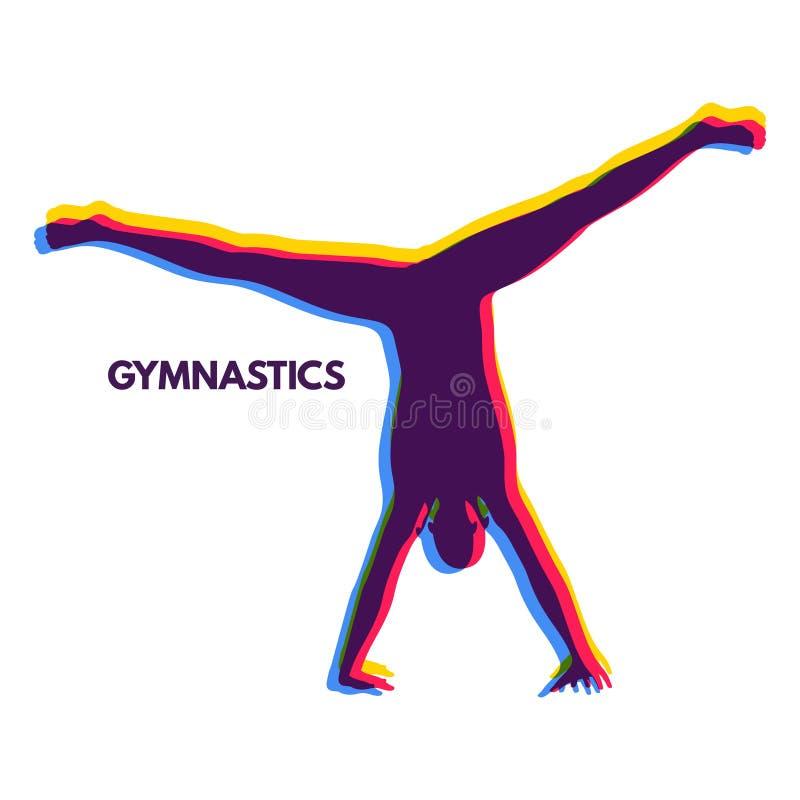 Uomo sportivo che fa esercizio di verticale Siluetta della ginnasta di un ballerino Attivit? di ginnastica per salute dell'icona  illustrazione di stock
