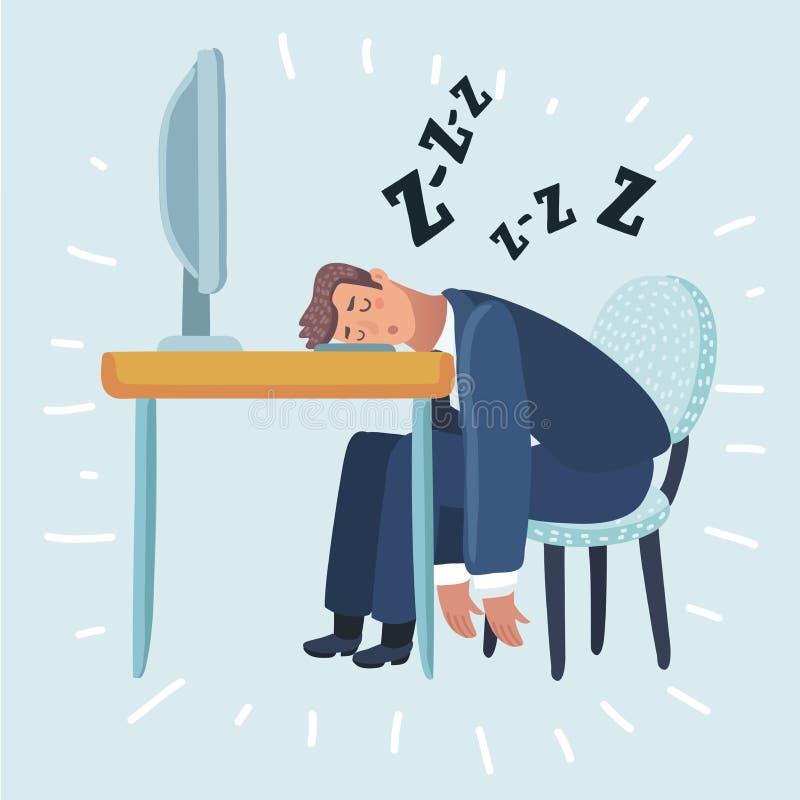 Uomo stanco che dorme nell'ufficio che si siede su una sedia rossa dietro la scrivania Uomo d'affari che lavora al computer illustrazione di stock
