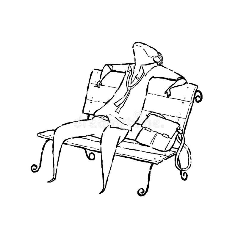 Uomo stanco sulla sedia illustrazione vettoriale