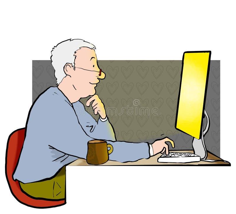 Uomo su Internet illustrazione vettoriale