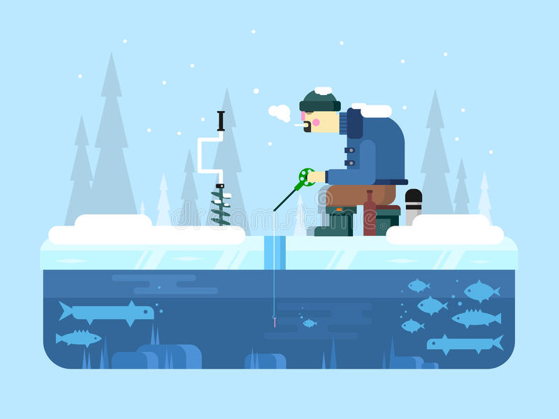 Uomo su pesca di inverno royalty illustrazione gratis