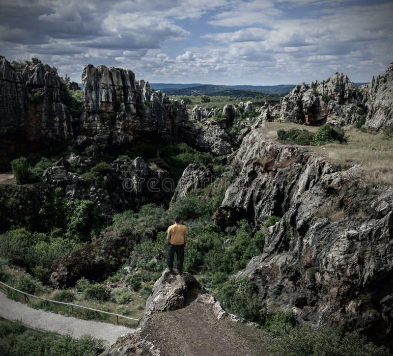 Uomo sul bordo della scogliera sulle montagne rocciose immagine stock