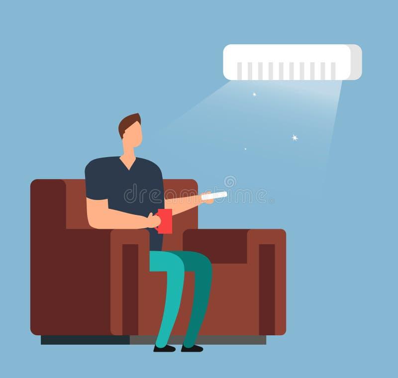 Uomo sul sofà sotto condizionamento d'aria Concetto di vettore di controllo di clima della stanza illustrazione vettoriale