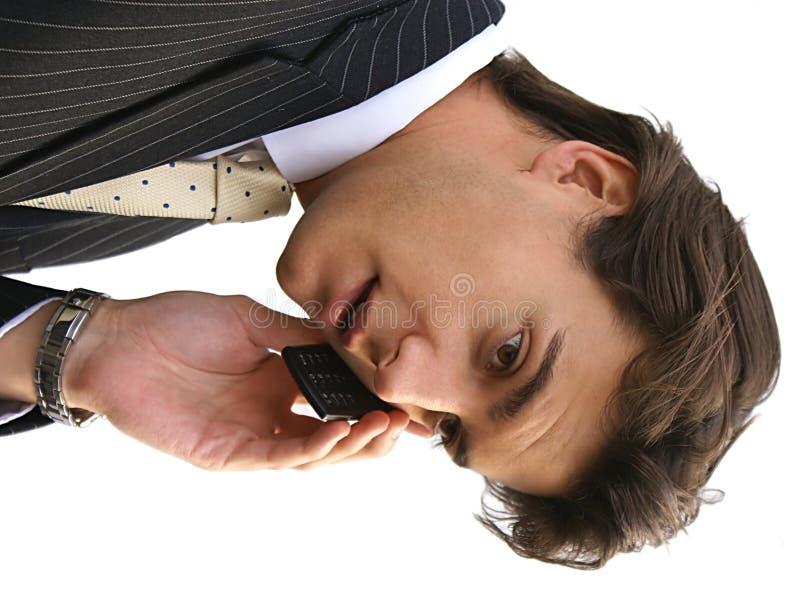 Uomo sul telefono fotografia stock