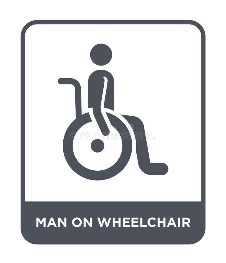 uomo sull'icona della sedia a rotelle nello stile d'avanguardia di progettazione uomo sull'icona della sedia a rotelle isolata su illustrazione di stock