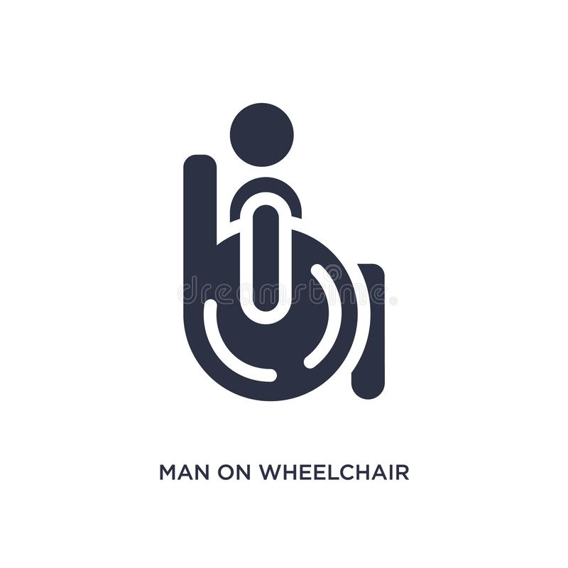 uomo sull'icona della sedia a rotelle su fondo bianco Illustrazione semplice dell'elemento dal concetto di comportamento illustrazione di stock