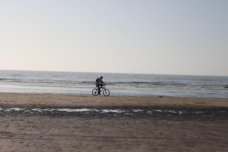 Uomo sulla bici sulla spiaggia immagini stock libere da diritti