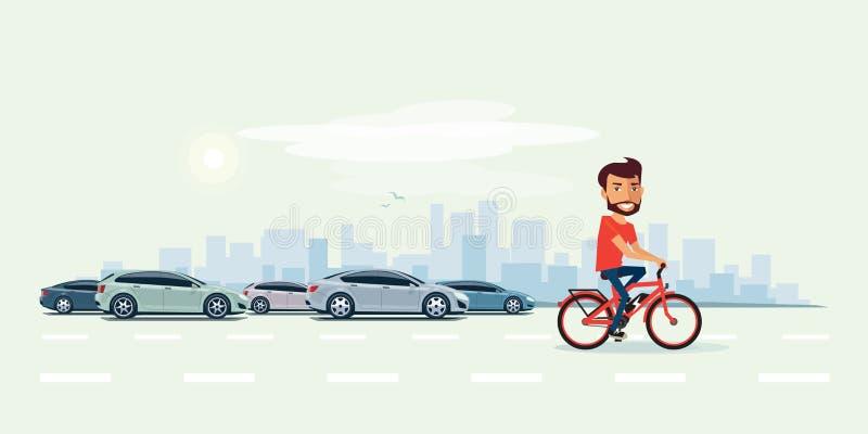 Uomo sulla bicicletta elettrica sulla via con le automobili dietro illustrazione vettoriale
