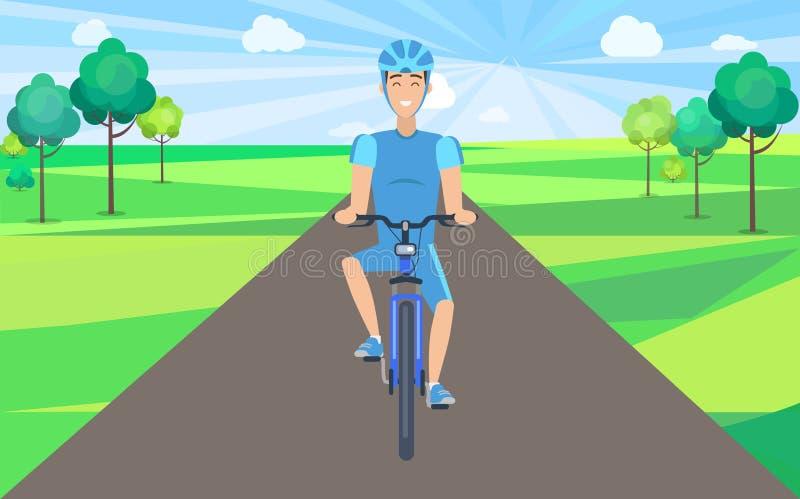 Uomo sulla bicicletta Front View Vector Illustration illustrazione vettoriale