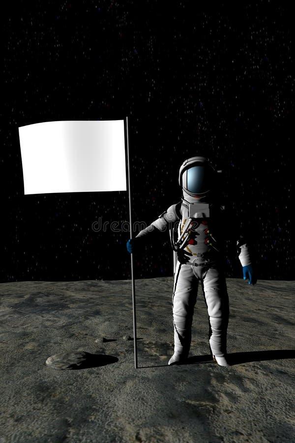 Uomo sulla luna (bandierina in bianco) fotografie stock libere da diritti