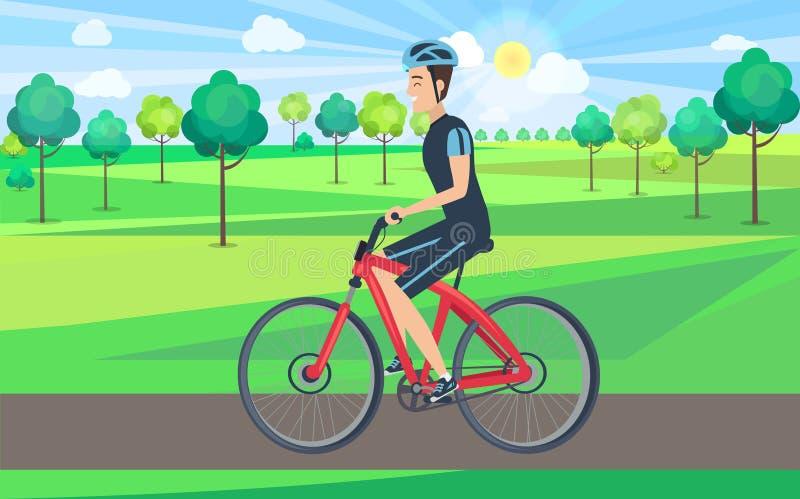 Uomo sulla vista della bicicletta dall'illustrazione sinistra illustrazione di stock