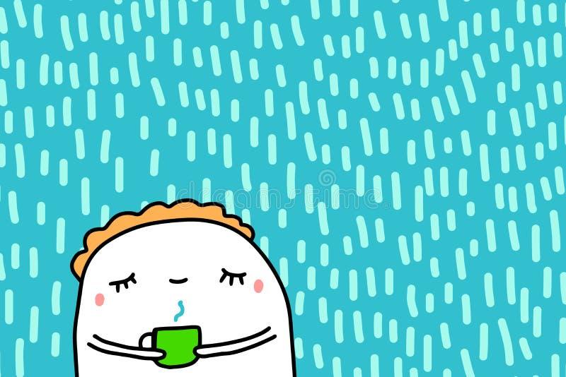 Uomo sveglio del fumetto con gli occhi chiusi che beve l'illustrazione disegnata a mano di vettore del caffè caldo su fondo strut illustrazione di stock