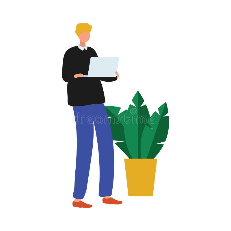 Uomo sveglio dell'impiegato di concetto con il computer portatile moderno vicino alla pianta da appartamento illustrazione vettoriale