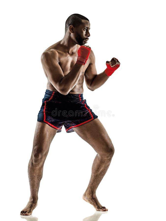 Uomo tailandese tailandese di pugilato del kickboxer di kickboxing di Muay isolato fotografia stock libera da diritti