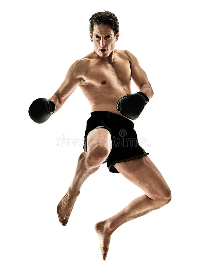Uomo tailandese muay del kickboxer di kickboxing di pugilato del pugile immagini stock libere da diritti