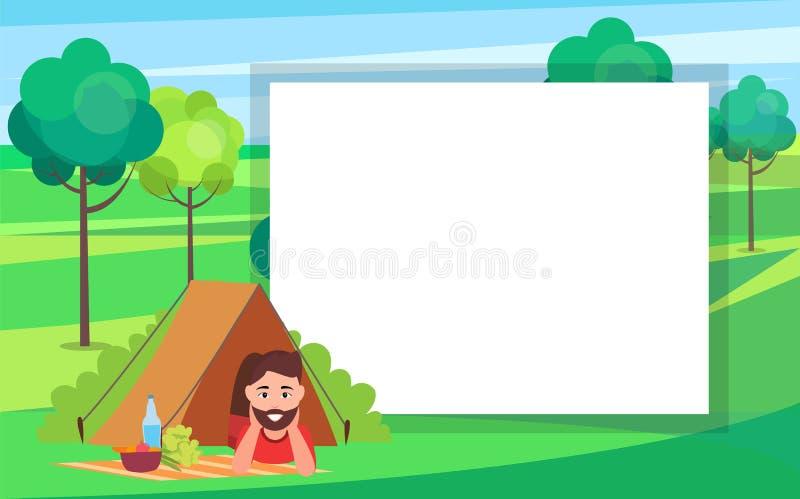 Uomo in tenda in Forest Poster Vector Illustration illustrazione vettoriale