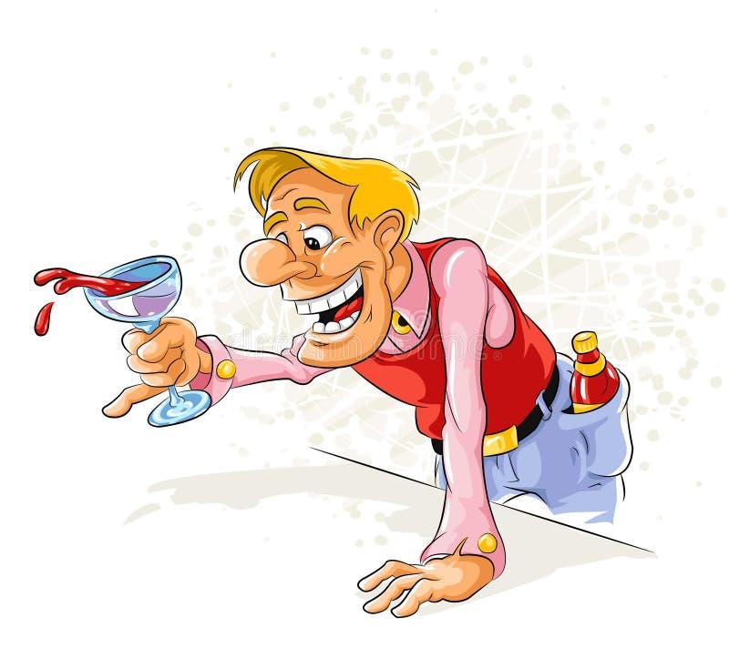 Uomo tipsy allegro che beve un vino illustrazione di stock