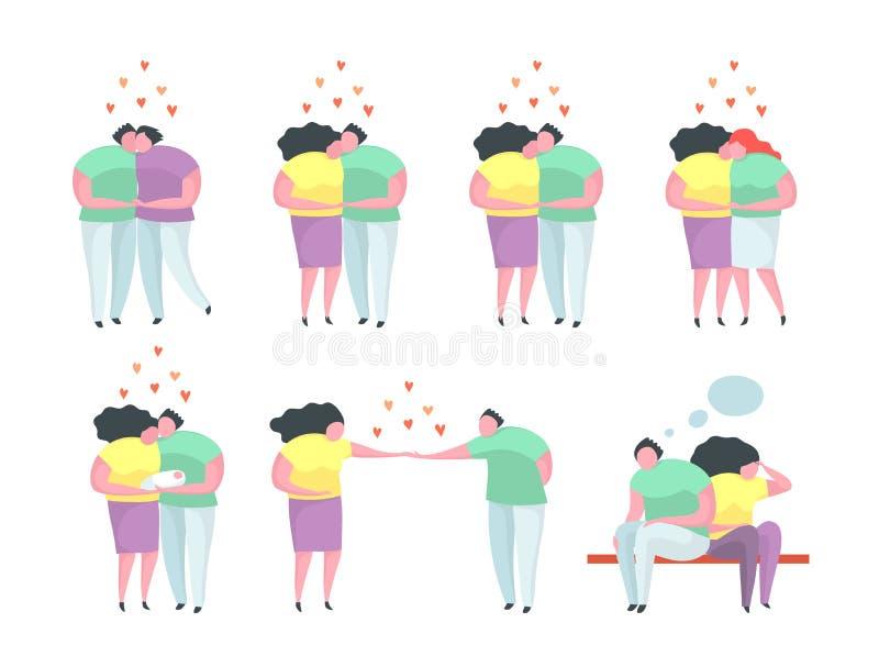Uomo tradizionale e gay e lesbico e donna di relazione delle coppie royalty illustrazione gratis
