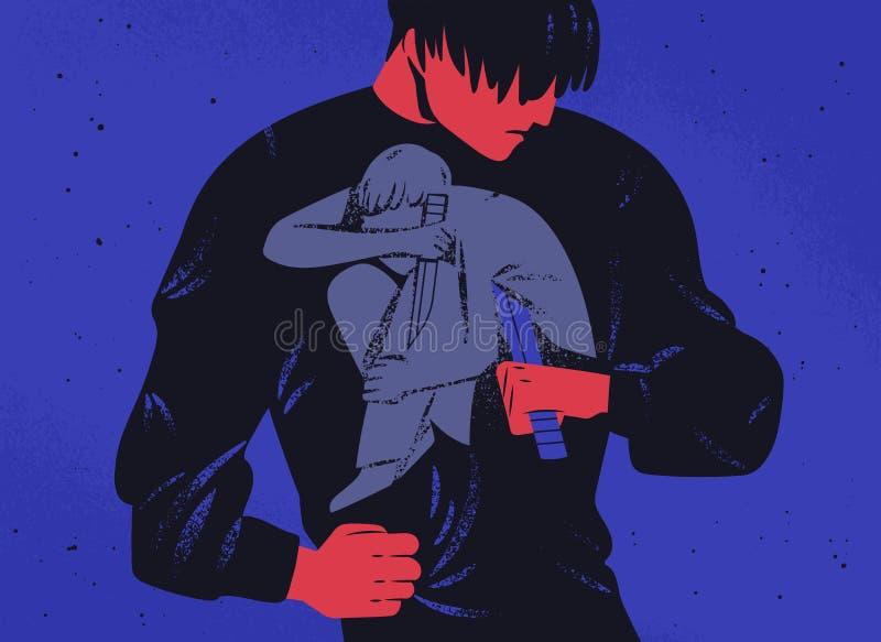 Uomo triste ed il suo coltello interno della tenuta di personalità Il concetto della lotta interna, guerra, lotta con l'auto, lot royalty illustrazione gratis