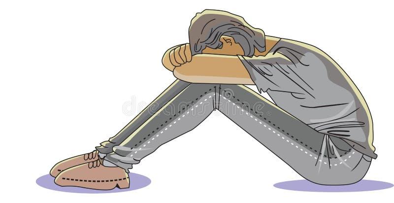 Uomo triste, illustrazione illustrazione di stock