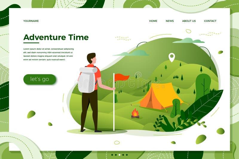 Uomo turistico di vettore, posto di campeggio con il falò royalty illustrazione gratis