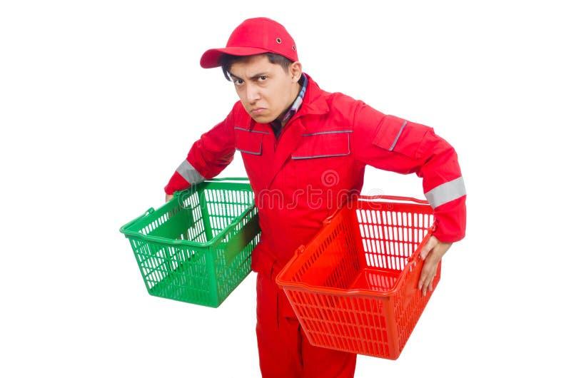 Uomo in tute rosse fotografia stock