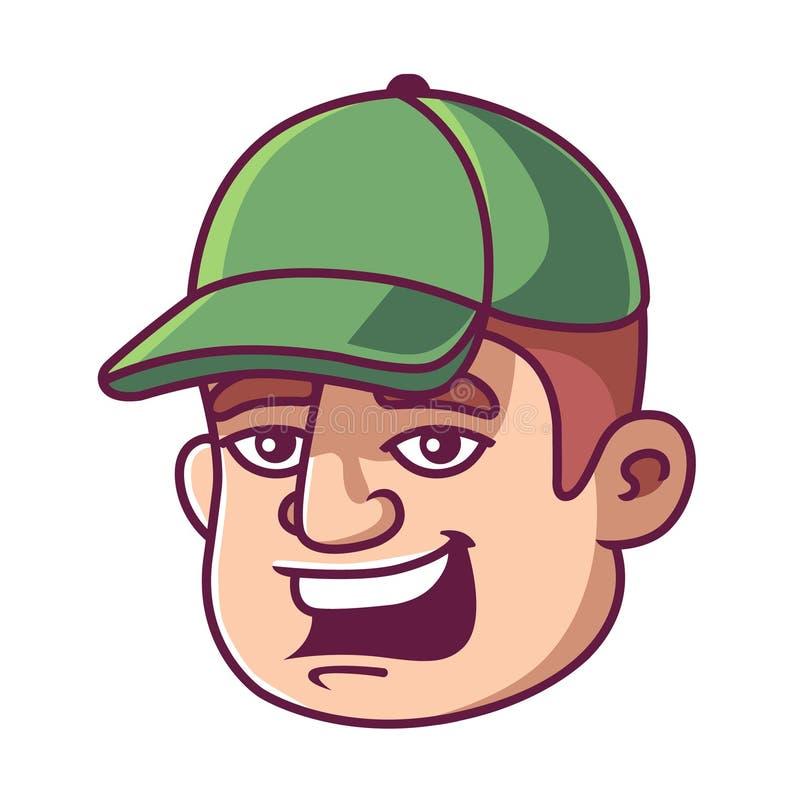 Uomo in un cappuccio verde illustrazione di stock