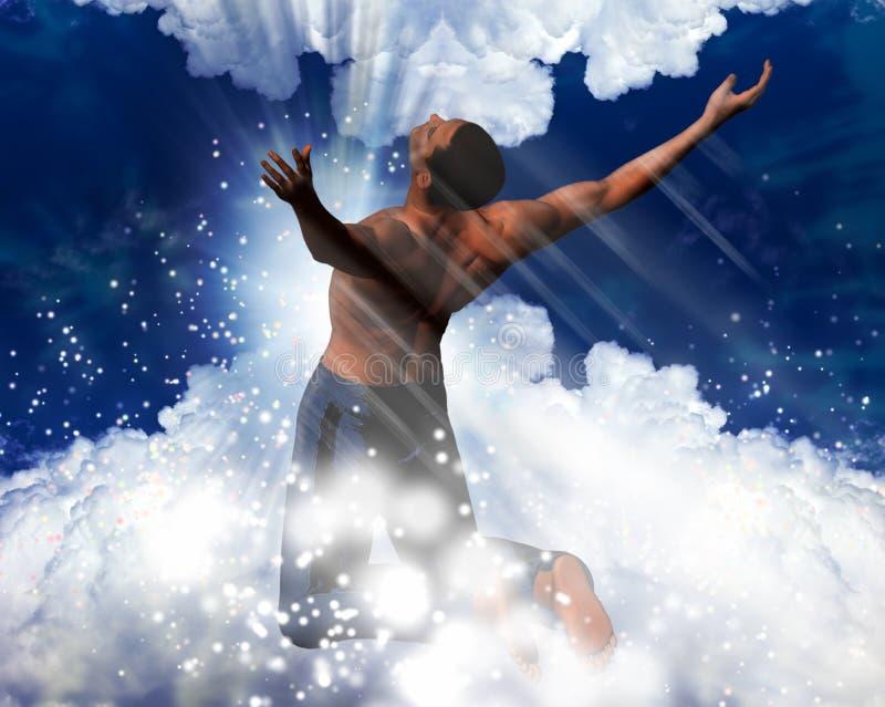 Uomo in un indicatore luminoso celestiale illustrazione di stock