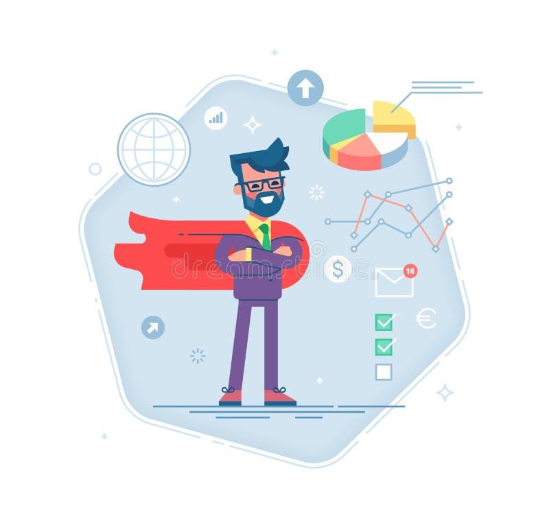 Uomo in un vestito ed in un supereroe rosso del capo illustrazione di stock