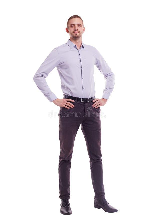 Uomo in una camicia su fondo bianco fotografia stock libera da diritti