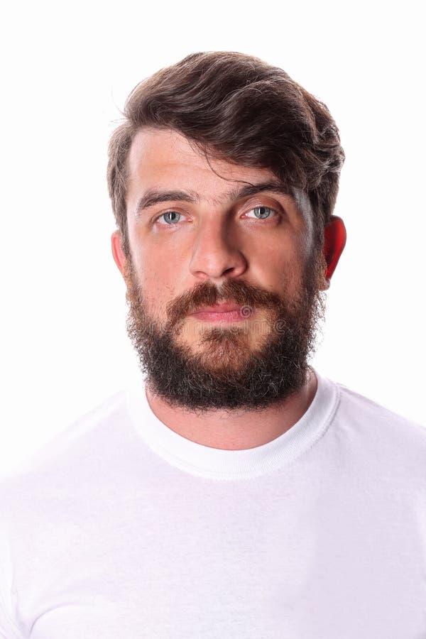 Uomo in una maglietta bianca Fine in su immagini stock